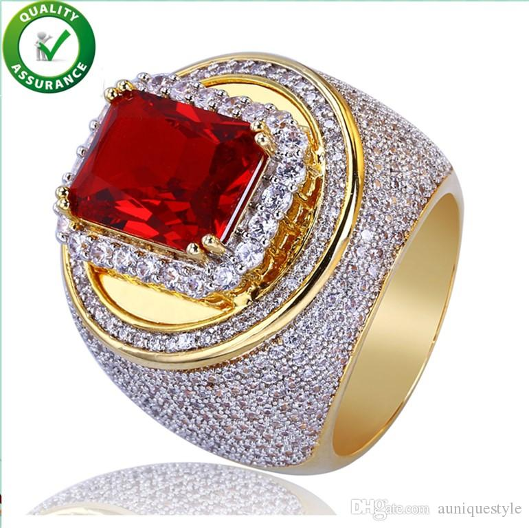 Hip Hop Jewelry Mens Gold Rings Iced Out Luxury Brand Micro Paved CZ Red Diamond  Bling Rock Finger Ring For Men Auniquestyle UK 2019 From Auniquestyle 1b3406a51303