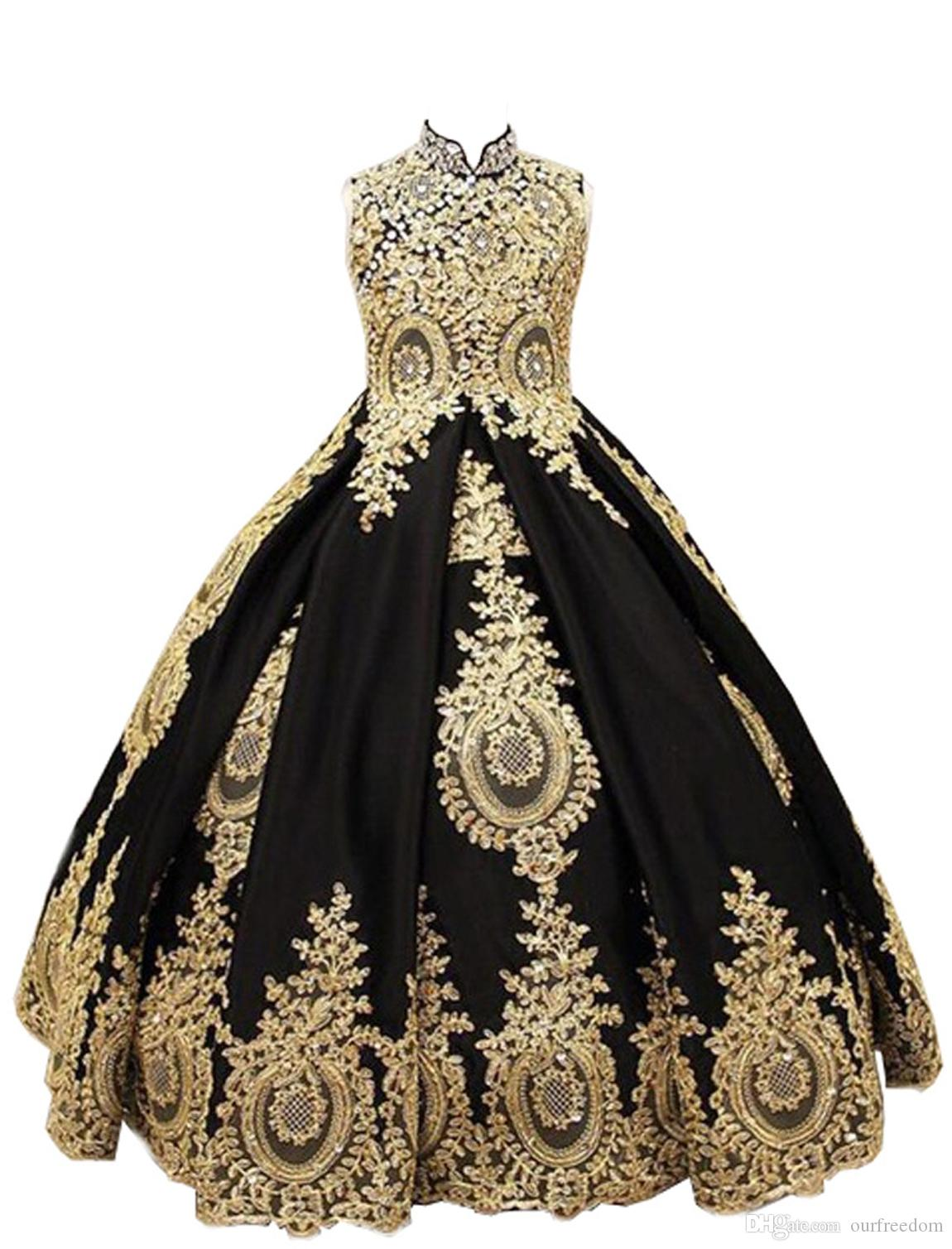 Gold Flower Girl Dress Luxury Applique Princess Pageant Birthday Party Ball Gown