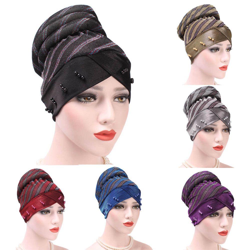 Women India Muslim Ruffle Cancer Hat Pearl Beanie Scarf Turban Head Wrap Cap