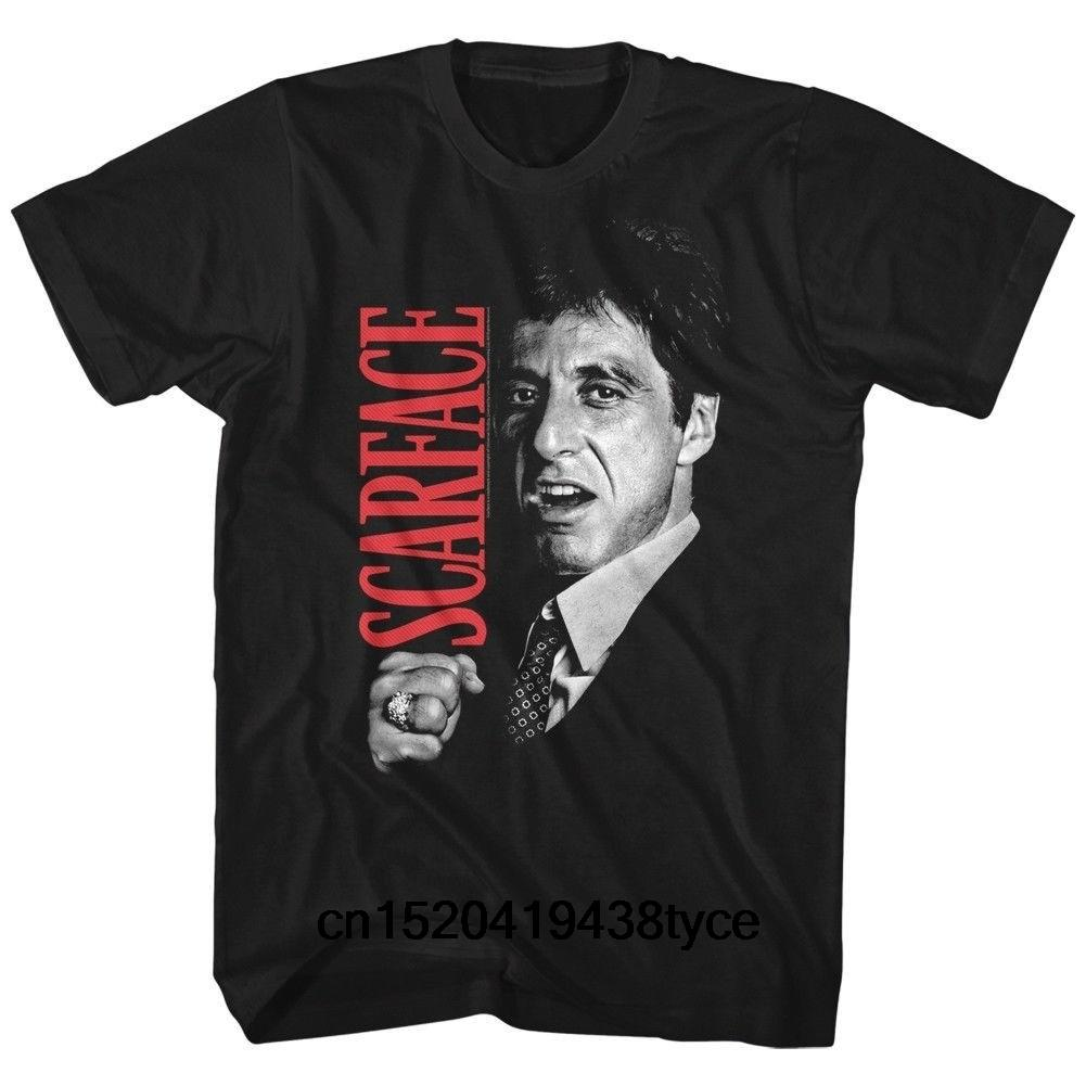 Fashion Man Scarface Movie Al Pacino Tony Close Up Cotton T-shirt Mens Cool Tops
