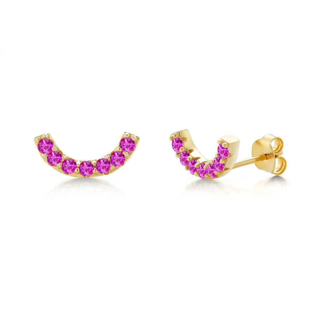 GemStoneKing 0.70Ct Semicircle Round 2mm Pink Sapphire 18k Yellow Gold Plated Silver Stud Earrings For Women luxury Jewelry