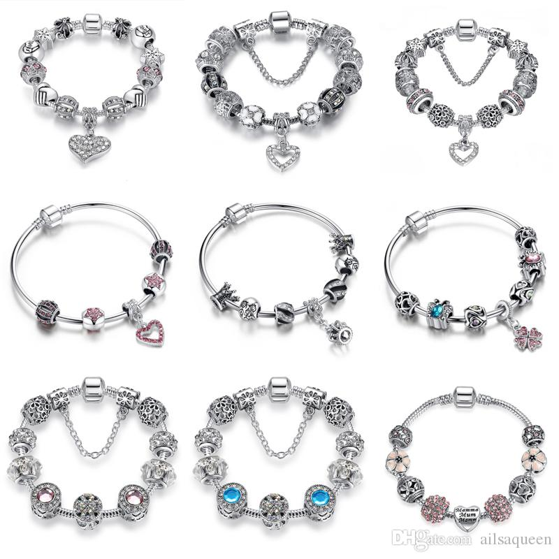 708481270a459 Crystal Women Beaded Bracelet Handmade Carved Silver Plated Snake Chain  Charm Bracelets for Female Wedding Party Jewelry