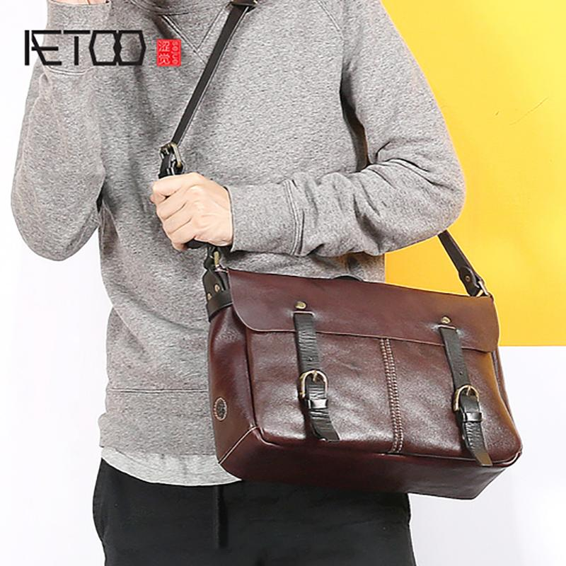 697c3ef9f8 AETOO New Casual Bag Male Retro Handmade Leather Handbag Horizontal ...