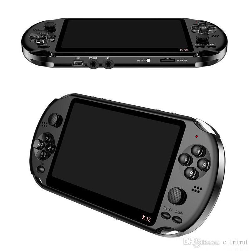 X12 핸드 헬드 게임 플레이어 8GB 메모리 휴대용 비디오 게임 콘솔 5.1 인치 컬러 화면 디스플레이 지원 TF 카드 32GB MP3 MP4 플레이어 MQ12