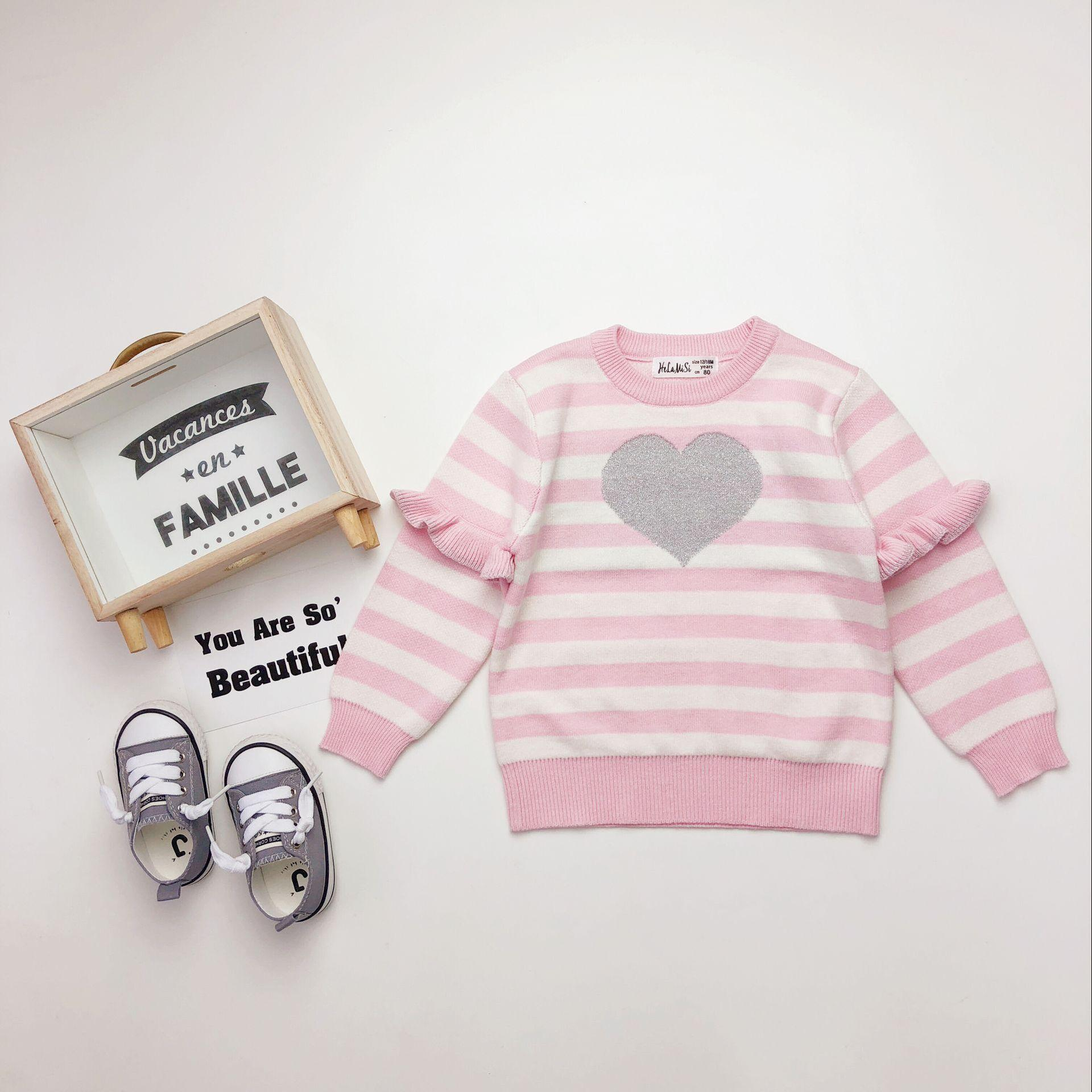 a798b1ce0 Baby Girls Love Heart Sweater 2019 Spring Stripe Ruffle Long Sleeve ...