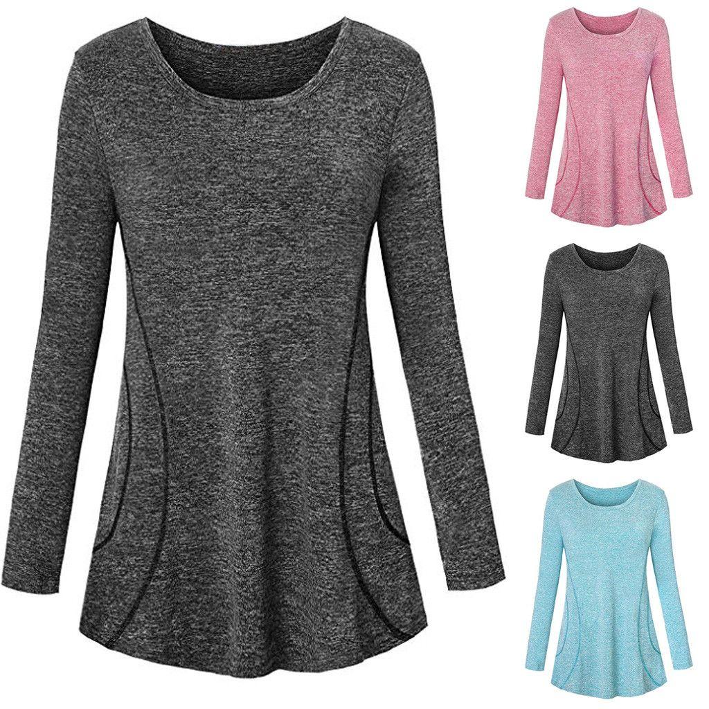 pretty cool online for sale classic Women Casual Long Sleeve Sport Cool Dri Workout T-Shirt Top Tunicchemise  femme korean style haut vintage#201