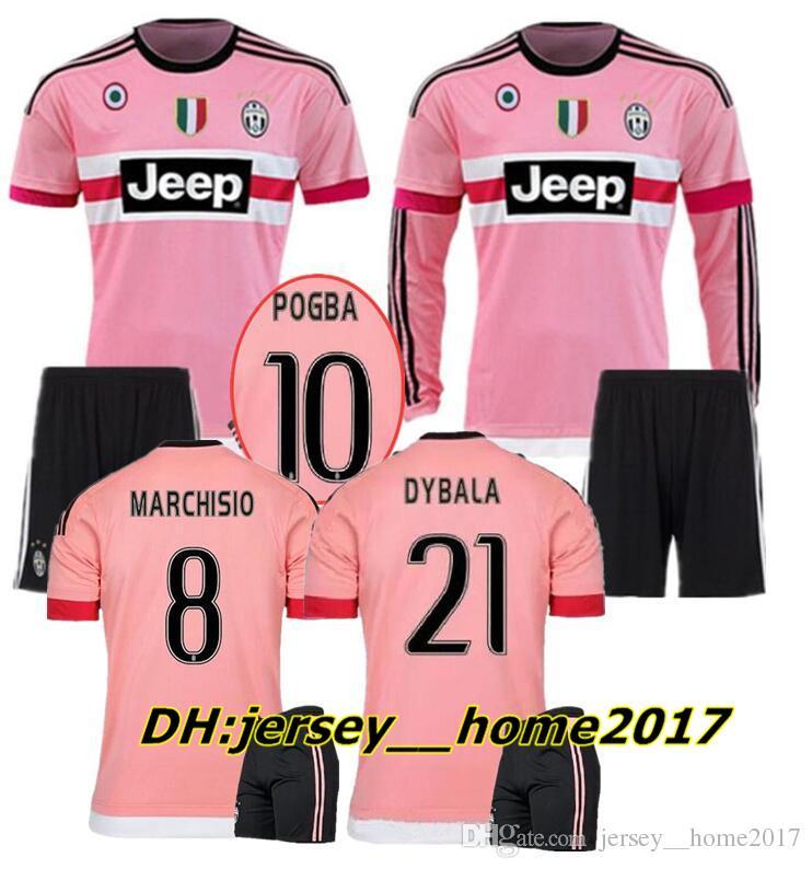 50f11e96fb0 Adult Kit 2015 2016 Long Sleeve Pink DYBALA Juventus Ronaldo Soccer ...
