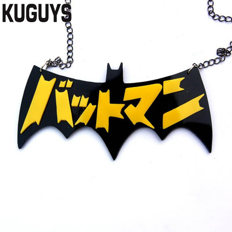 KUGUYS Acrylic Japan Batman Necklace Fashion Jewelry HipHop Pendant Necklaces for Women and Mens Accessories Sweater Chains