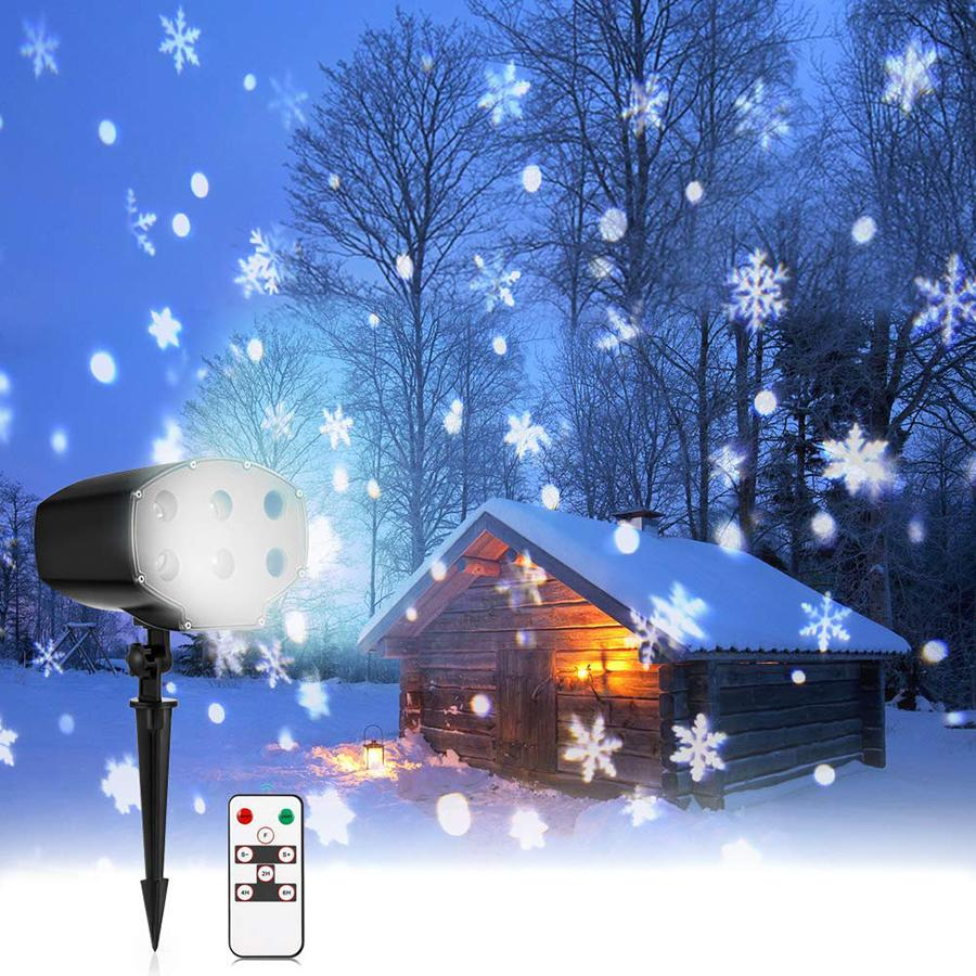 Outdoor Garden Snowflake Laser Light IP65 Moving Christmas Snowflake  Projector Stage Light for Xmas Halloween Party Wedding