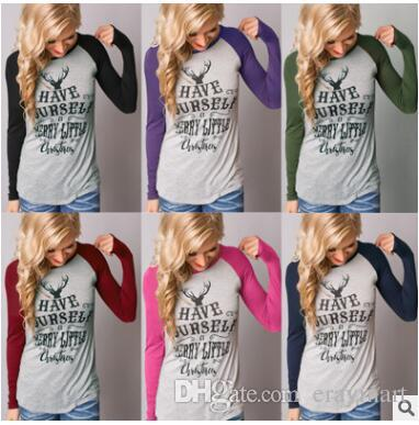 b6da6c78 Christmas T-Shirt Women Xmas Elk Shirts Santa Claus Tops Long Sleeve ...
