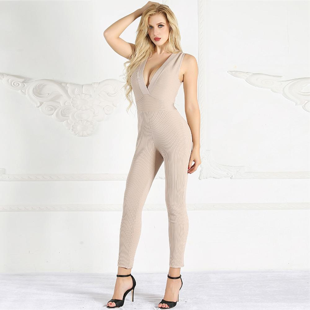 f23d08af41e 2019 New Style Fashion Hot Sale Sexy Women Deep V Neck Backless Bandage  Body Con Jumpsuit Night Club Party Jumpsuits Wholesale From Cutelove66