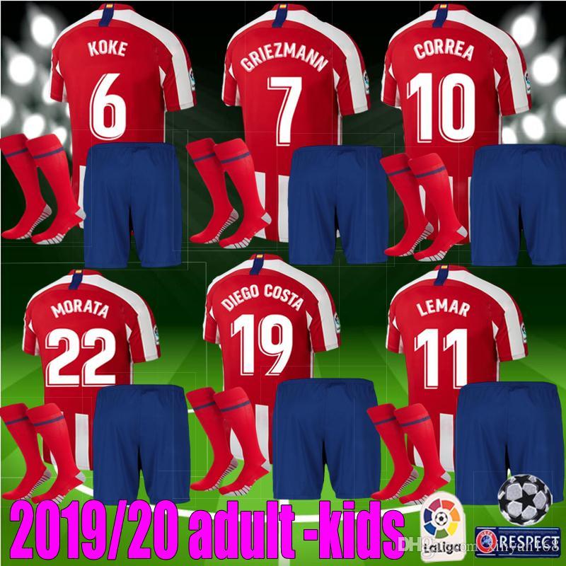 best website 65f62 654dd adult kids Madrid 2019 2020 GRIEZMANN Atletico Soccer Jersey kit 19 20  Correa Lucas Costa Koke Saul Luis men boys football kits shirt