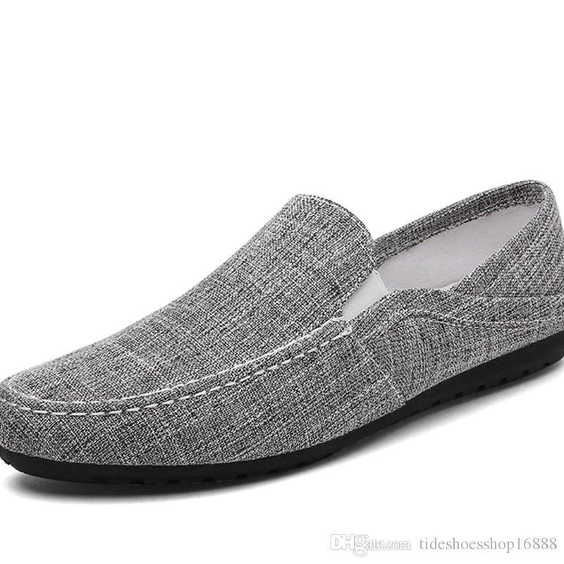 b94c0a8e738 2019 Men Canvas Shoes Breathable Men S Loafers Slip On Solid Hemp Mens  Trainers Espadrilles Men Chaussure Homme Shoes Zomer Blue HNK CC Womens  Shoes Cheap ...