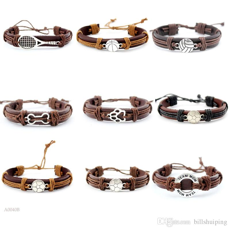 Basketball Football tennis volleyball Dog Paw Mom Adjustable Leather Cuff Bracelets for Men Women Friendship Bangle Punk Wristband Jewelry