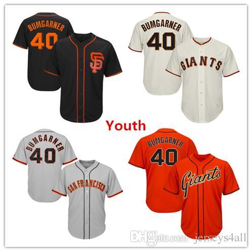 official photos c9757 944fd Youth Kids Child Giants Baseball Jerseys 40 Madison Bumgarner Jersey Cream  Black Orange Grey Gray Green Salute