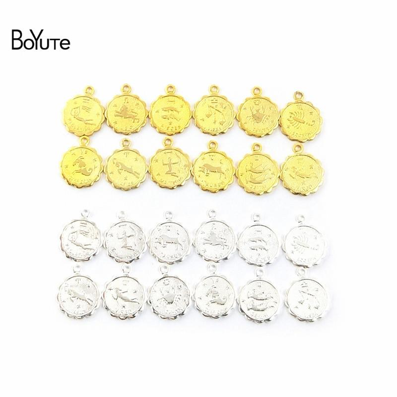 Fashion Charms BoYuTe (12 Pieces/Set) Metal Brass 12MM Mix Zodiac Charms For Jewelry Making DIY Hand Made Jewelry Accessories Parts