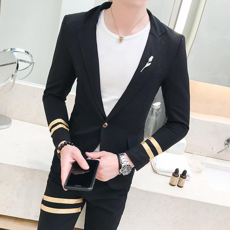 Acheter Mens Costumes Costumes Slim Fit Dernier Manteau Pantalon Conçoit  Fumer Homme Robe De Soirée Nouveau Costume Pour Les Tenues De Club Pour  Hommes ... 91c33dd1444