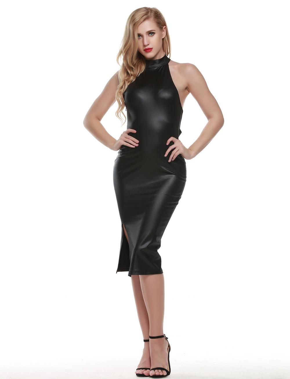 d80e06844 2019 Sexy Women Sleeveless Halter Patent Leather Dress Fashion Back Cross  Strap Costume Sexy Skinny Skirt Evening Dress From Fetishqueen, $23.97 |  DHgate.