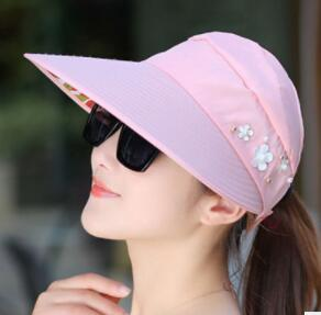 cbd5e02f5d463 DHL Sun Visor Hats For Women Outdoor Casual Fashion Foldable Empty Top  Large Wide Brim UV Protection Summer Beach Packable Cap Christmas Party  Themes Circus ...