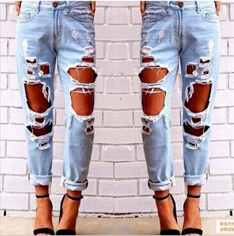 1e26cd5147 Compre Ripped Jeans Denim Joggers Rodilleras Slim Fit Jeans Para Mujeres  Blue Rock Star Jumpsuit Para Mujer Jeans Destruidos Boyfriend Pencil Pants  A  22.18 ...