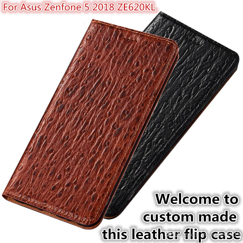 new product a2a9a 30542 QX07 Natural Leather Magnetic Flip Case Card Slot For Asus Zenfone 5 2018  ZE620KL Phone Case For Zenfone 5 2018 ZE620KL Flip Cover