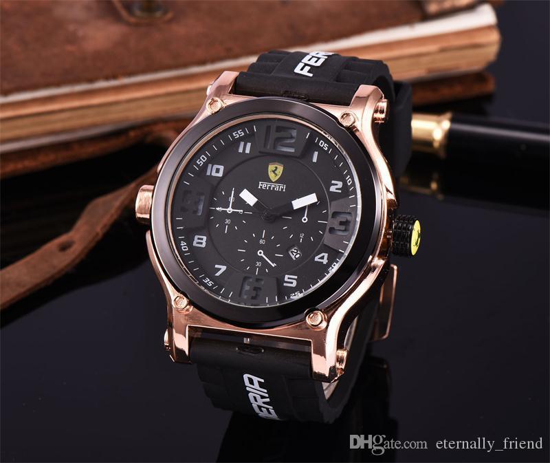 622454668ee Compre Luxo Ferrari Relógio De Quartzo HOT Data Automática De Luxo Homens E  Mulheres De Couro Data Movimento Marca Relógio De Quartzo Homens Relógios  Big ...