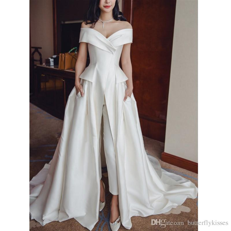 2019 Elegant Ivory Satin Jumpsuit Evening Dresses Off Shoulder Prom Dresses With Pockets Custom Sweep Train V Neck Women Formal Gowns