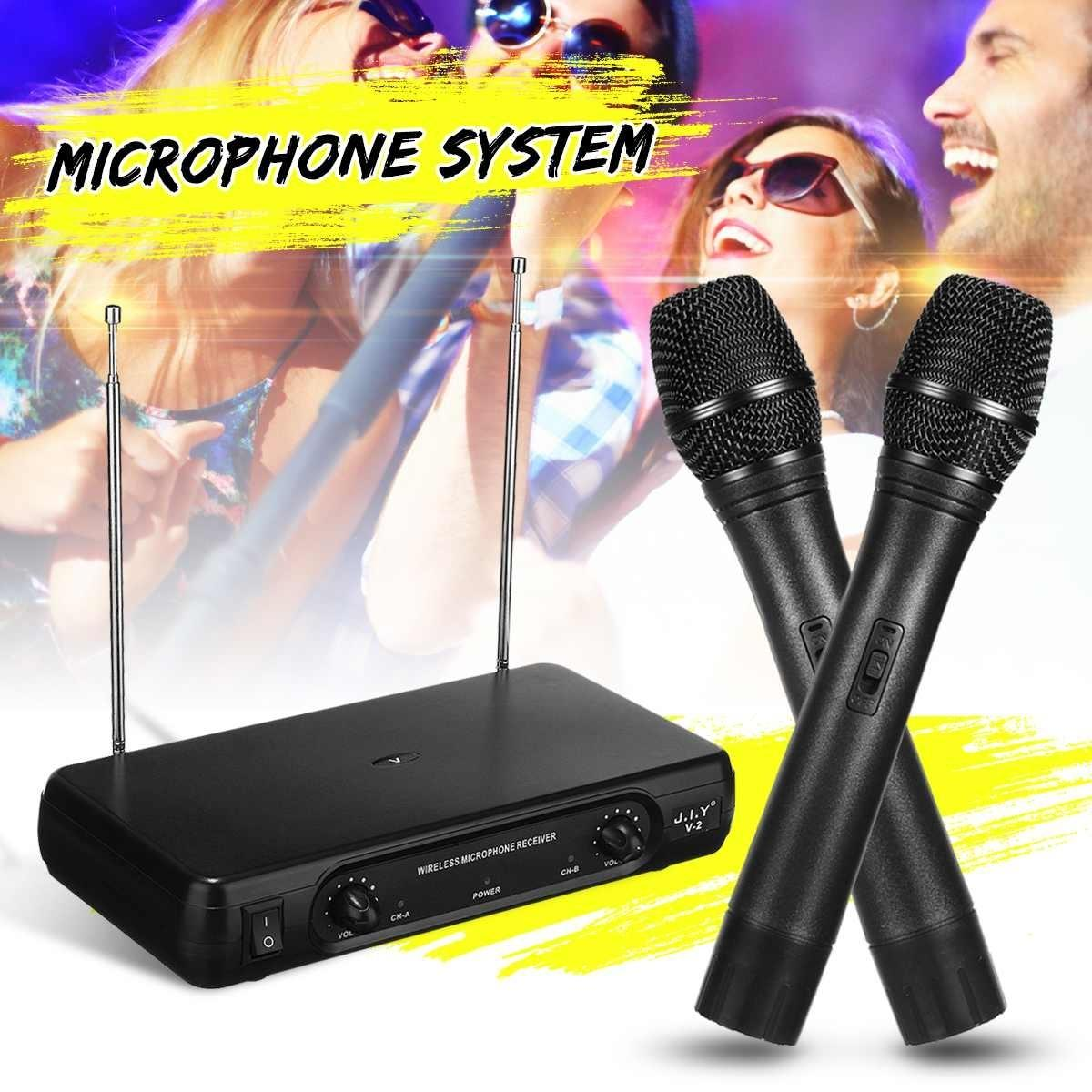 Dual Professional VHF Wireless Microphone System Cordless Handheld Mic Receiver Microphones Karaoke with 2 Microphones T191021