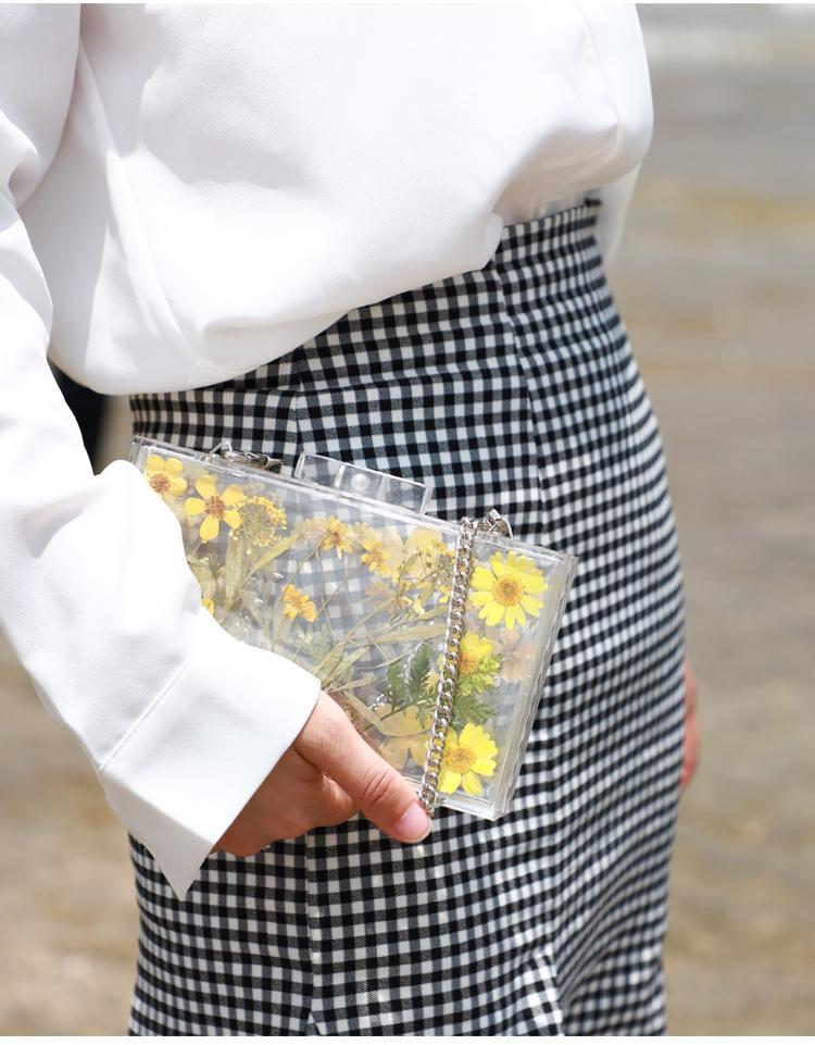 Acryl Clutch Bag Frauen transparente Tasche klar PVC-Druck Blume Kleine Daisy Party Kunststoff Box Tasche 2019 Sommer