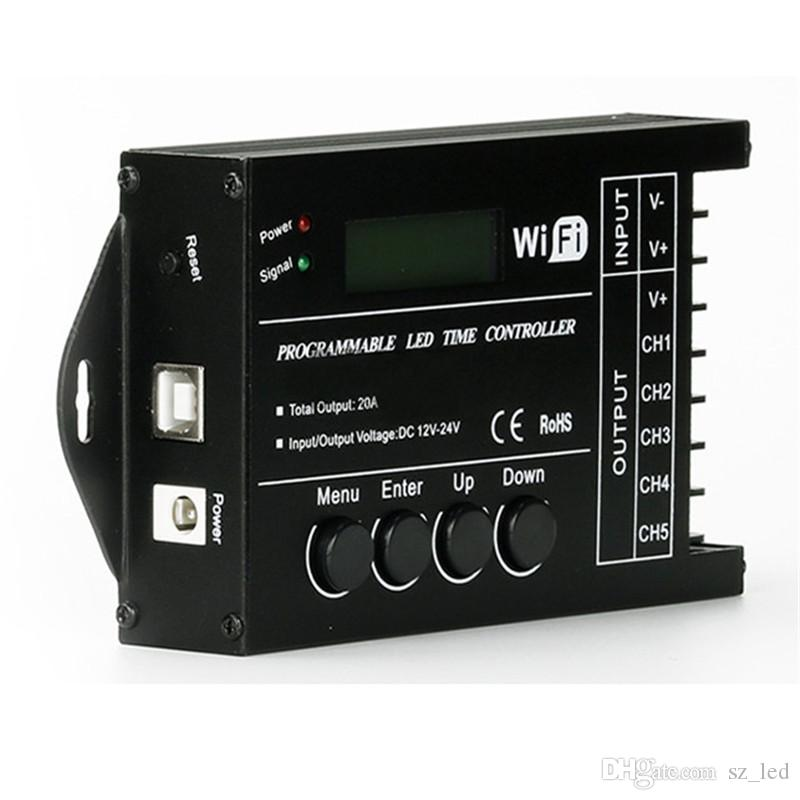 DHL Shipping TC421 WiFi Programmable LED Time Controller DC12-24V 20A 5CH  for RGB LED Strip Light