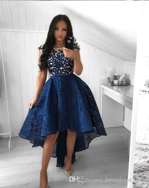 80722f31b31 ... Lace High Low Prom Dresses With Applique Capped Scoop Neck Homecoming  Party Gowns Zipper Back A Line Dress Prom Dresses Liverpool Prom Dresses  Under 150 ...