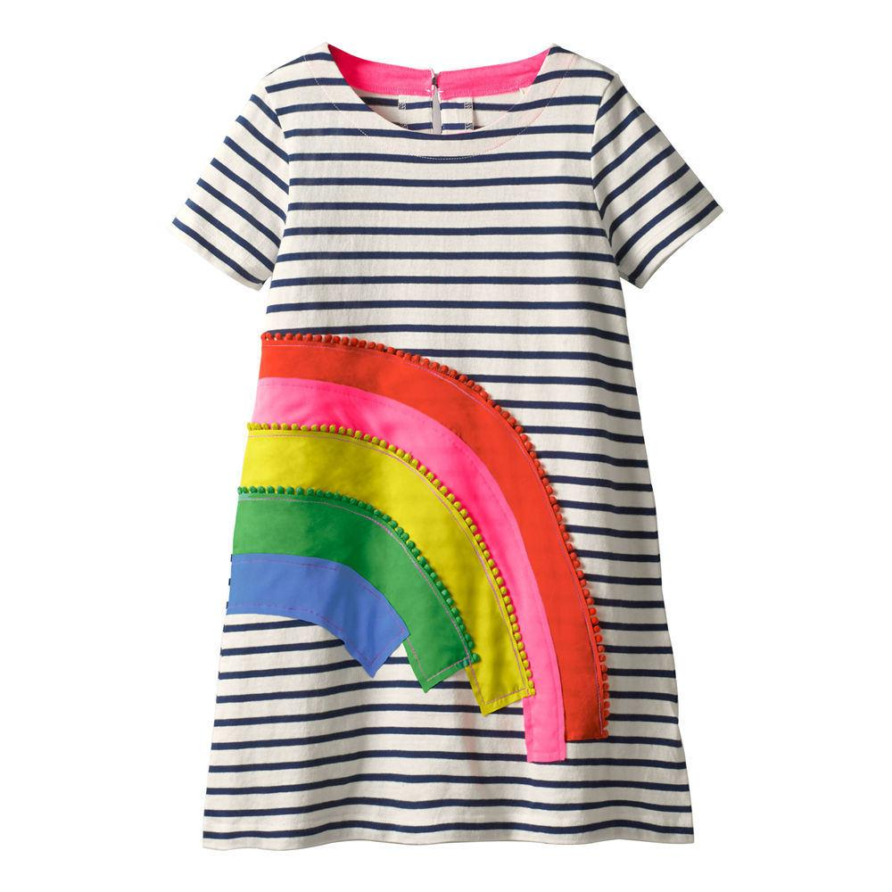 457af2204a39 Jumping Meters Girls Dress Rainbow Appliques 2019 Summer Short ...