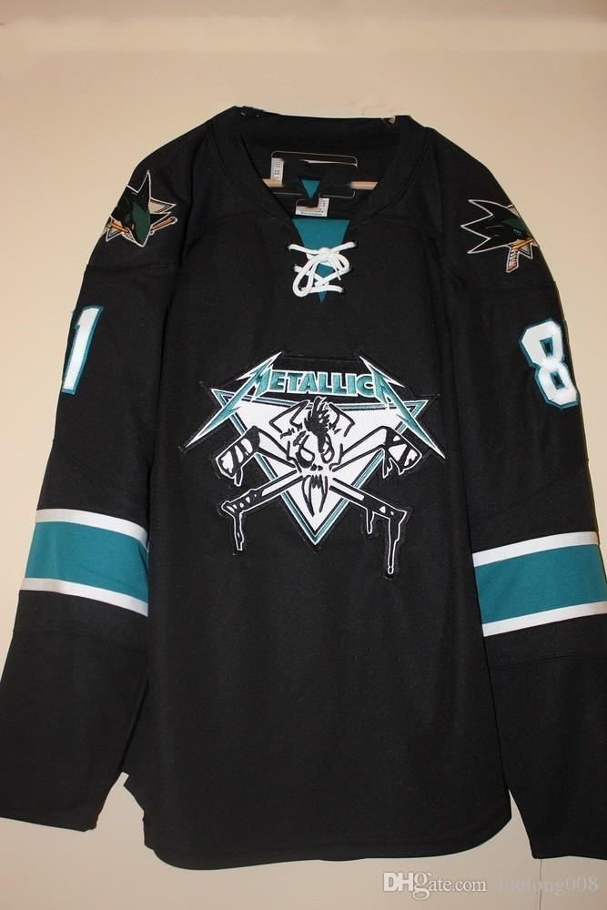 the best attitude 96879 946ed Metallica San Jose Sharks James Hetfield Hockey Jersey Embroidery Stitched  Customize any number and name