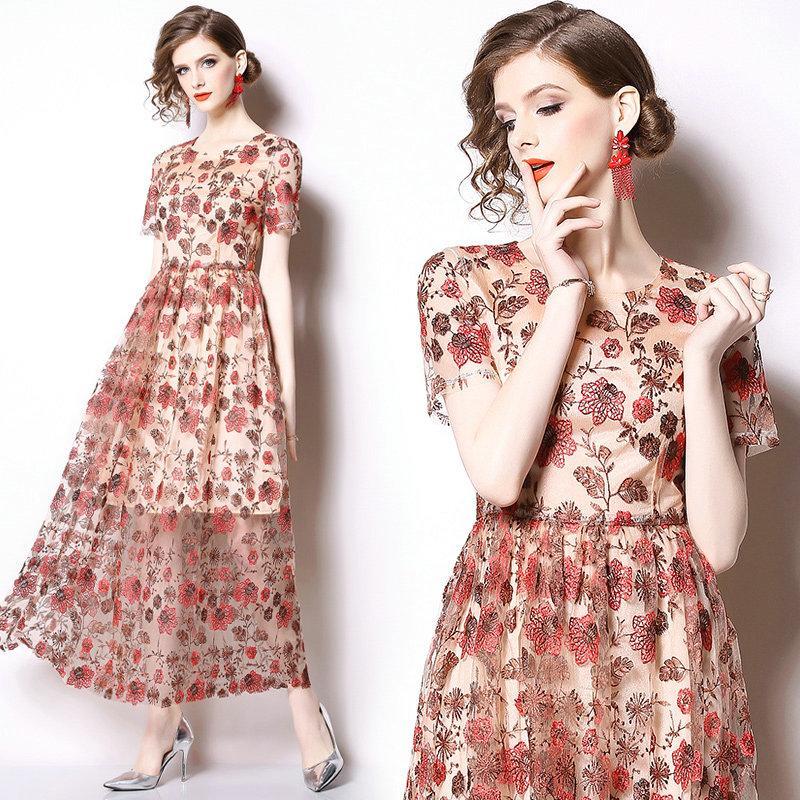 9dc2e63feca80 Satın Al Moda Noble Bayan Elbise Nakış Dantel Balo Abiye Sıcak Yeni Yaz  Prenses Elbise Kısa Kollu Maksi Elbiseler, $24.4   DHgate.Com'da