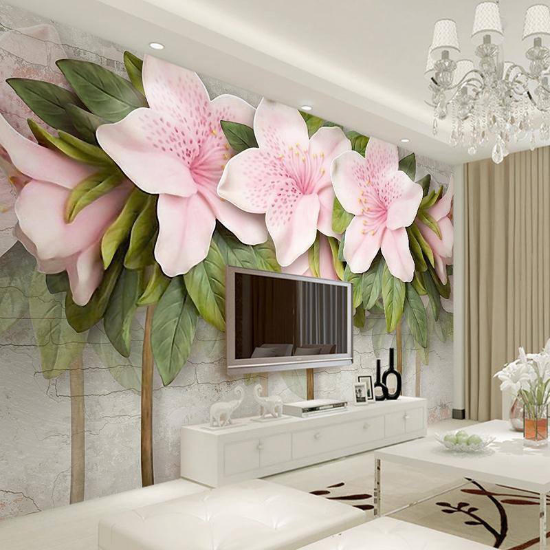 3D Wallpaper Stereo Relief Pink Flowers Leaves Brick Wall Murals Bedroom  Living Room TV Sofa Backdrop Wall Paintings Home Decor