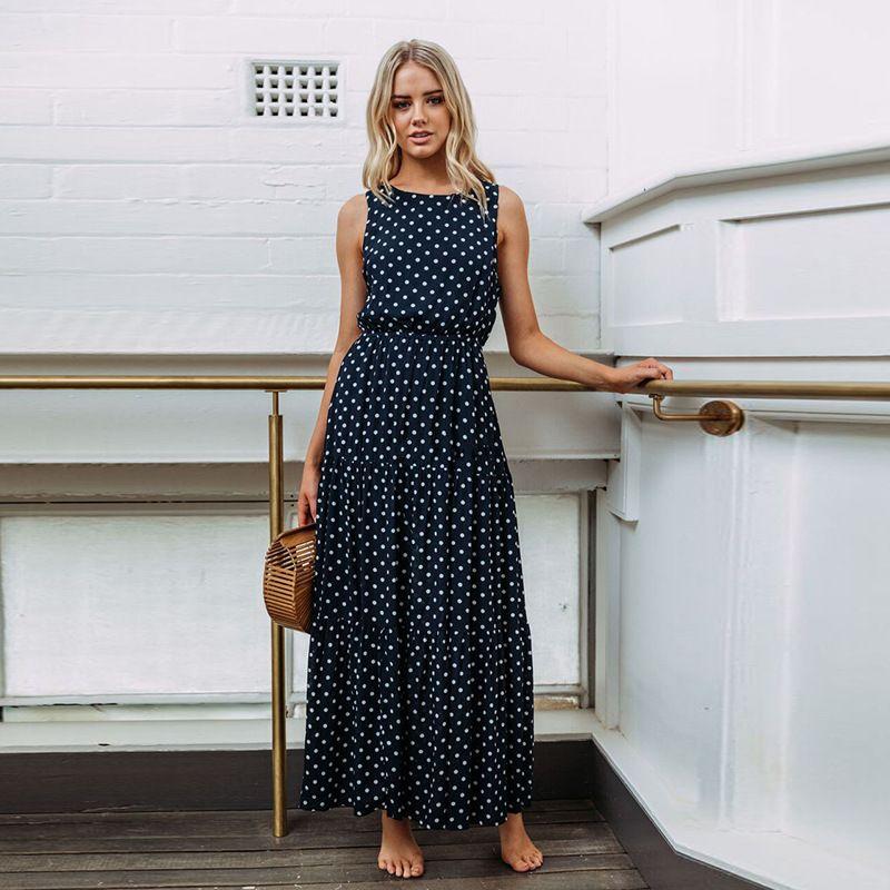 0b71c59d5aa7a 2019 Women Sexy Button Maxi Dress Female Fashion Dot Print Sleeveless  Summer Dresses Casual Beach Long Dress Vestidos