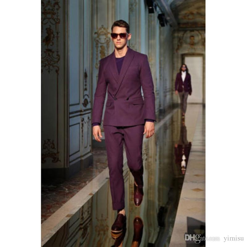 Handsome Grape Mens Suits Peaked Lapel Mens Wedding Suits Double Breasted Groom Suits Slim Fit Prom Suit Evening Party Suit Two Pieces