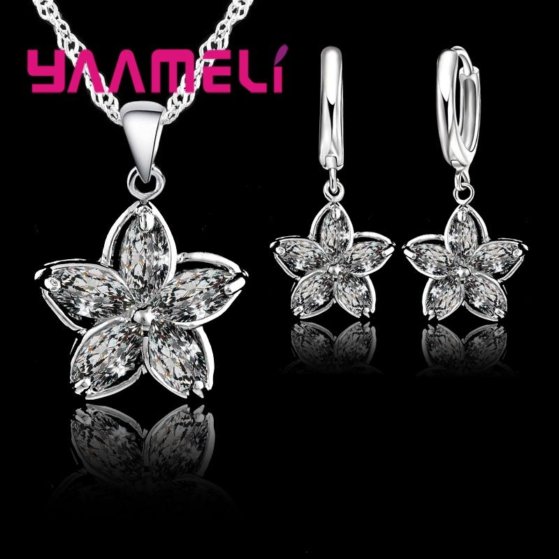 f3d6495ec 2019 New Fashion Elegantment Unique Flower Shape CZ Crystal 925 Sterling  Silevr Jewelry Sets Charming For Woman Girls Festival Gift From Zaonoodle,  ...