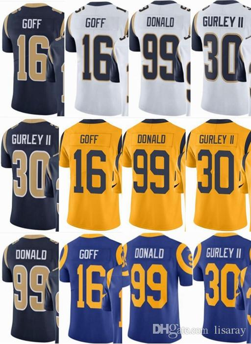 2019 Custom Men Youth Women  16 Jared Goff 30 Todd Gurley II 99 Aaron Donald  Vapor Untouchable Limited Rush Elite Jerseys  Hockey Jackets From  Mesh jersey12 ... e766ab4e4