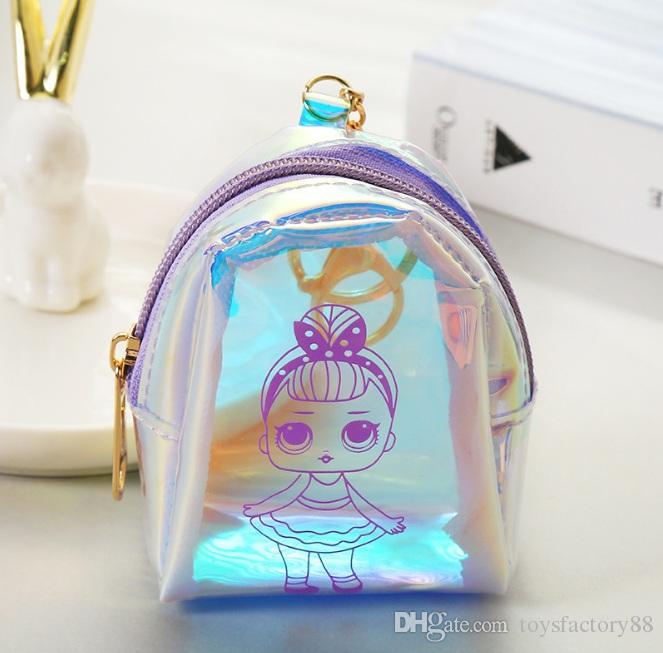5 stili cartone animato bambola laser portamonete portachiavi mini mini portafoglio auricolare cambio borsa soldi Conchiglia a forma di bomboniera sacchetto regalo per bambini