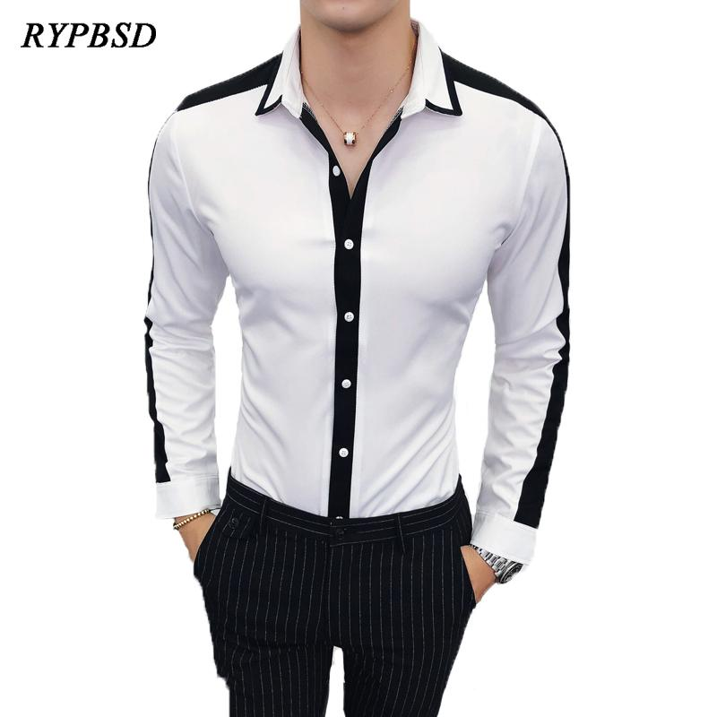 43c196a2 2019 Men Shirt 2019 Spring Creative Classic Black White Contrast Social  Camisa Masculina Long Sleeve Work Business Casual Dress Shirt From  Camelane, ...