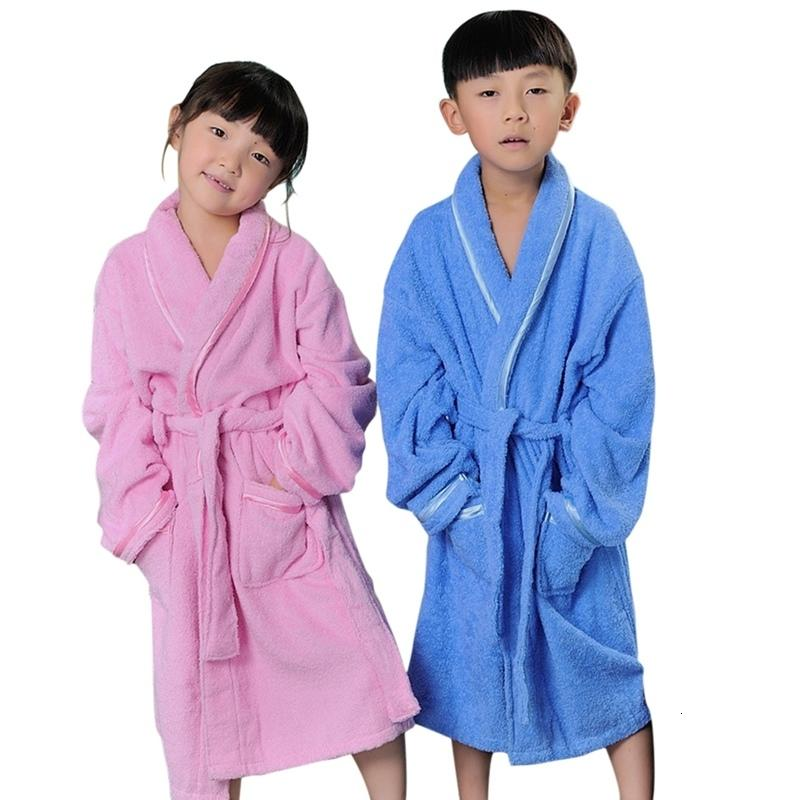 New Cotton Kids Robes Soft Children's Pajamas Lace-up Boys Girls Bathrobe Breathable Kids Bath Robes Children's Winter Nightgown CJ191209