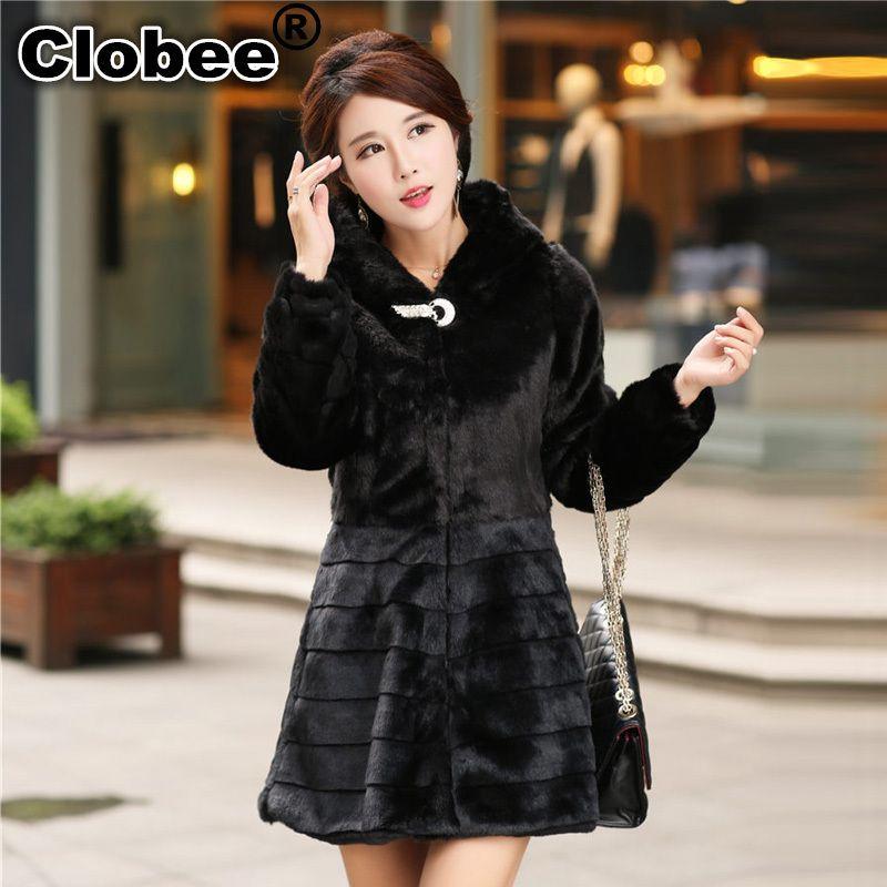 9624c3ff06b 2019 Plus Size S 6XL 5XL 4XL XXXL Medium Long Faux Fur Coat For Women  Stripe Patchwork Rabbit Fur Jacket Overcoat Warm Winter Coats From  Eggplant18