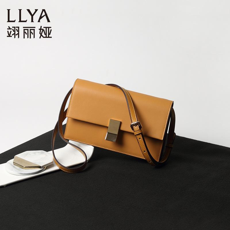 Charm2019 Ins Bag Genuine Leather Bean Curd Package Oblique Satchel Woman Box