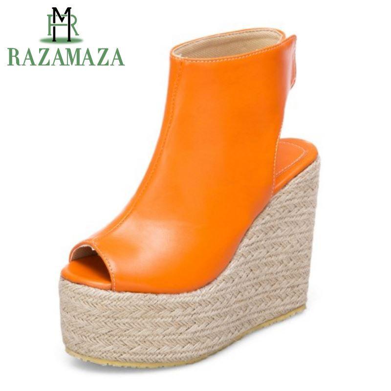 Compre Venta Al Por Mayor Tamaño 32 43 Señora Madura Sandalias De Cuña  Zapatos De Mujer Tacón Alto Peep Toe Plataforma Gruesa Sandalia De Fiesta  Sexy ... 252707d2f3e2