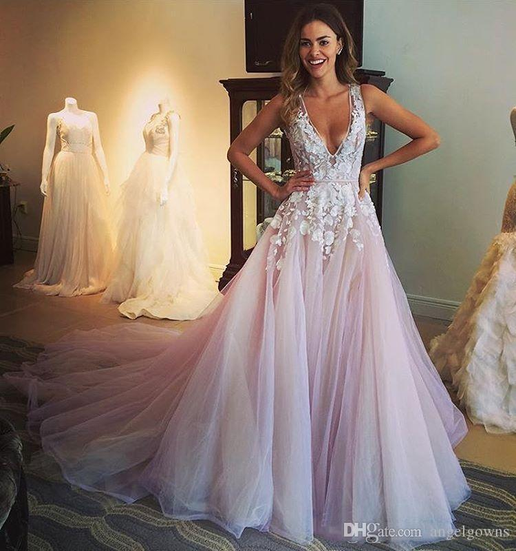 Pretty A Line Wedding Dresses Deep V Neck Lace Applique Pale Pink Tulle Beach Country Bridal Gowns Cheap Straps Wedding Dress Long Train