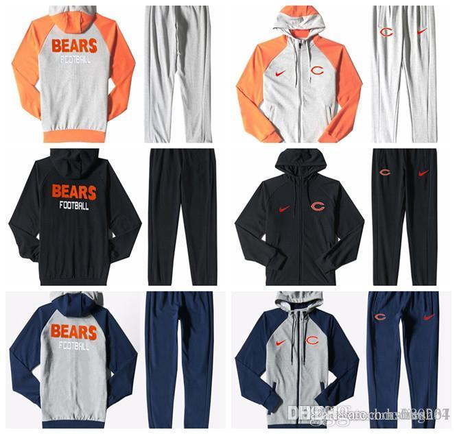 purchase cheap 4a4aa a61d2 Chicago Bears Men'S Print Full Zip Sportswear Men'S Sport Suit Bodysuit  Plus Pantsuit Blue Ash Black Orange white splicing