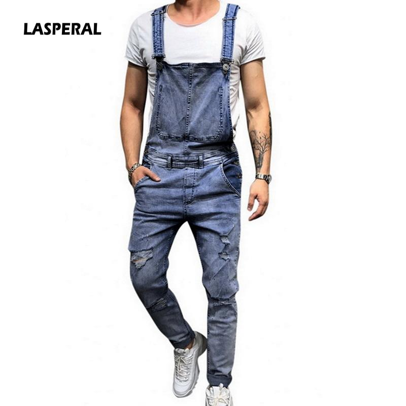 cd4fc2e5a1e1b LASPERAL 2019 Fashion Mens Ripped Jeans Jumpsuits Street Distressed ...