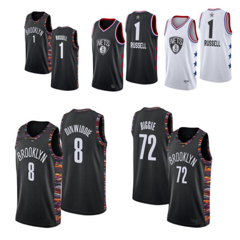 wholesale dealer 35475 feca0 2019 Cheap All-Star City #1 D Angelo Russell Jersey 72# Black Biggie 8#  Spencer Dinwiddie Swingman Basketball Jerseys