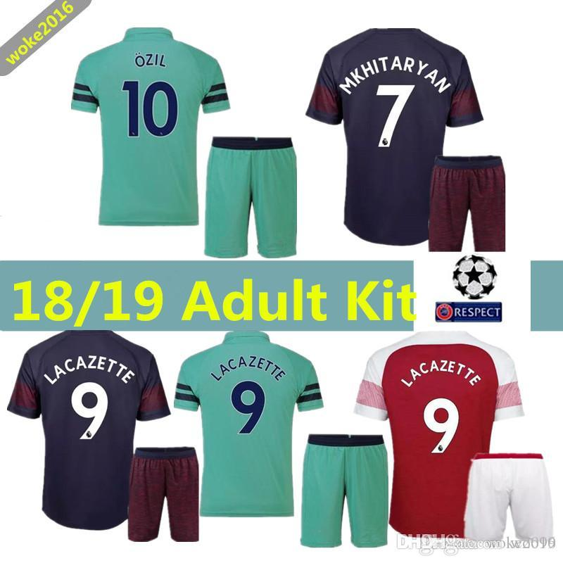 new concept a42a9 caf79 New Arsenal OZIL football uniform 2019 LACAZETTE GIROUD home men's suit 18  19 XHAKA 2018 shorts socks adult MKHITARYAN football shirt V